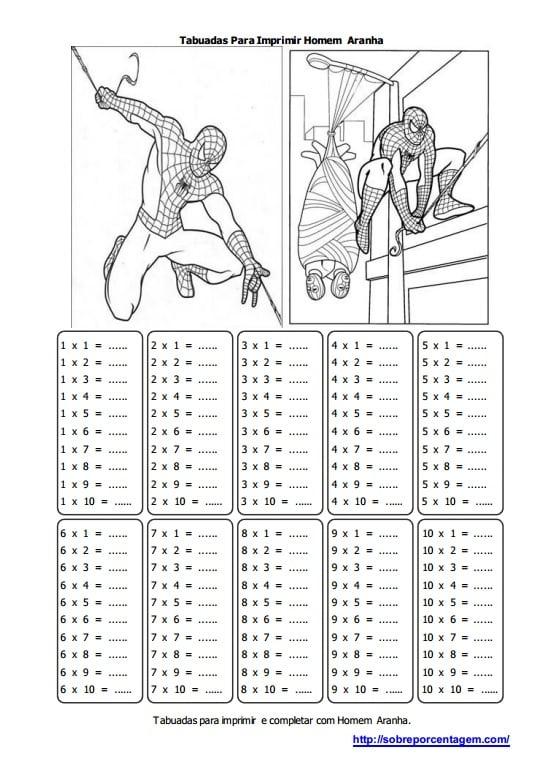 Imprimir Tabuada do Homem Aranha