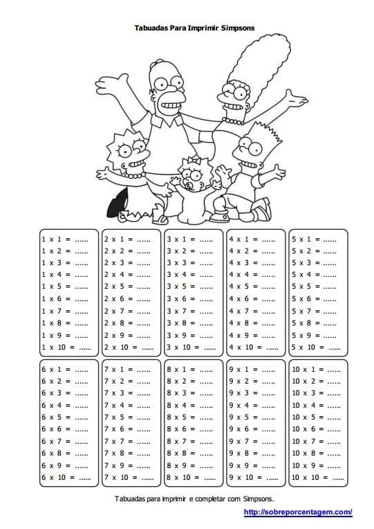 Imprimir Tabuada de Os Simpsons
