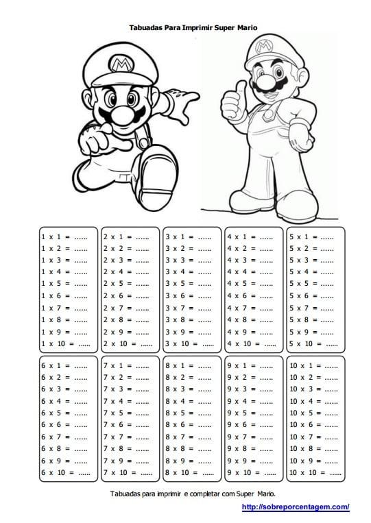 Imprimir Tabuada do Super Mário