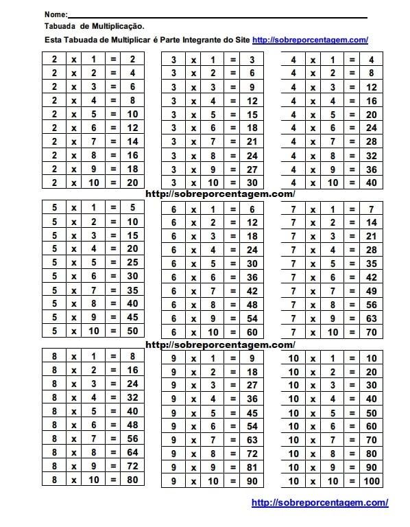 Tabuada de multiplicar para imprimir